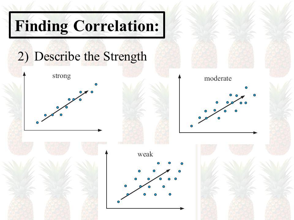 Finding Correlation: 2)Describe the Strength