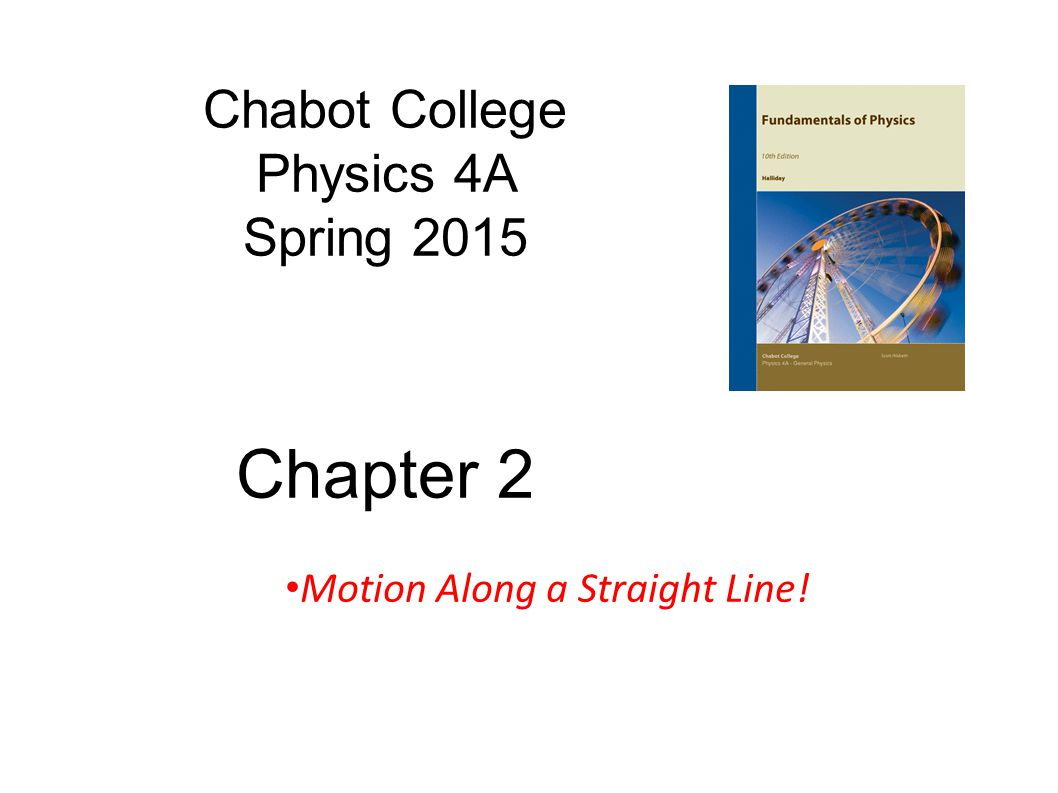 Goals for Chapter 2 Describe straight-line motion in terms of velocity and acceleration Distinguish between average and instantaneous velocity and acceleration Interpret graphs position versus time, x(t) versus t (slope = velocity!) time Position x(t)