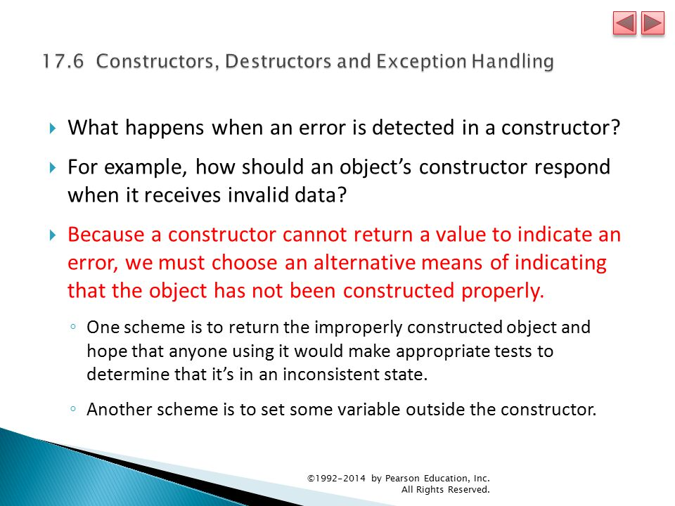  What happens when an error is detected in a constructor.