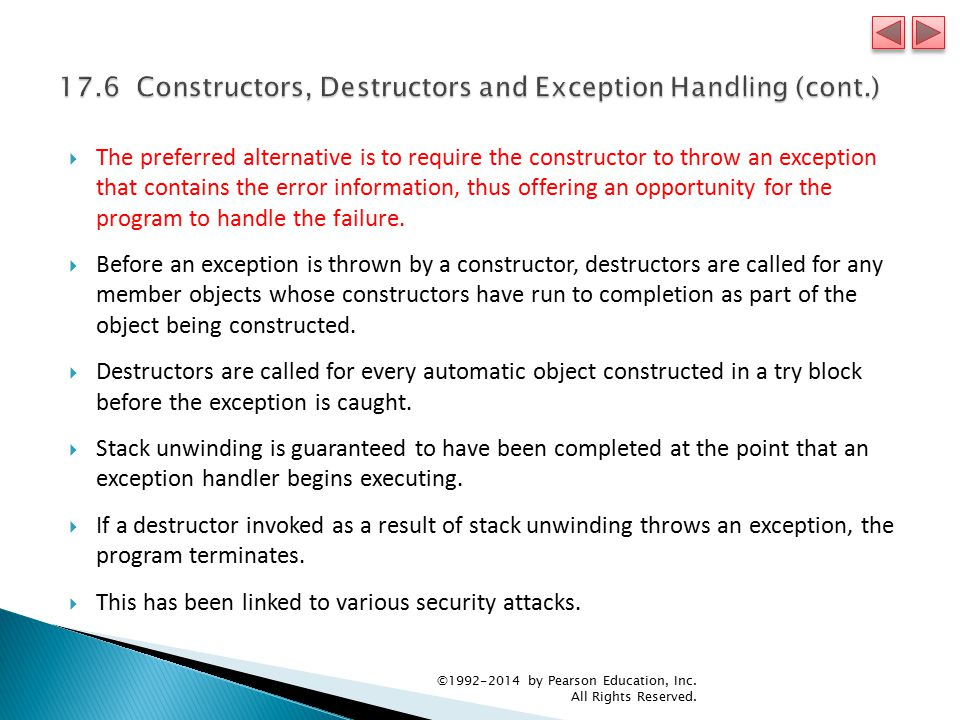  The preferred alternative is to require the constructor to throw an exception that contains the error information, thus offering an opportunity for the program to handle the failure.