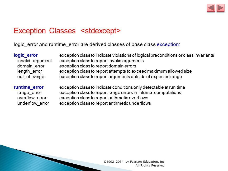 Exception Classes logic_error and runtime_error are derived classes of base class exception: logic_errorexception class to indicate violations of logical preconditions or class invariants invalid_argumentexception class to report invalid arguments domain_errorexception class to report domain errors length_errorexception class to report attempts to exceed maximum allowed size out_of_rangeexception class to report arguments outside of expected range runtime_errorexception class to indicate conditions only detectable at run time range_errorexception class to report range errors in internal computations overflow_errorexception class to report arithmetic overflows underflow_errorexception class to report arithmetic underflows