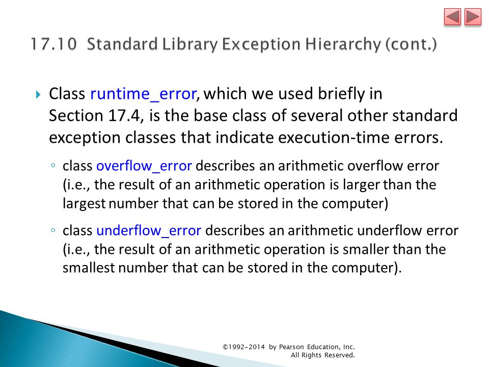  Class runtime_error, which we used briefly in Section 17.4, is the base class of several other standard exception classes that indicate execution-time errors.