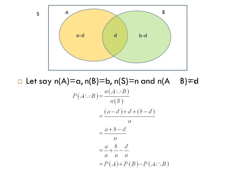  Let say n(A)=a, n(B)=b, n(S)=n and n(A B)=d S AB a-d b-d d