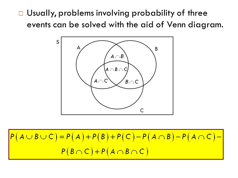  Usually, problems involving probability of three events can be solved with the aid of Venn diagram. A B C S