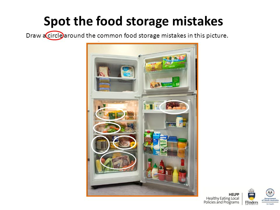 Spot the food storage mistakes Draw a circle around the common food storage mistakes in this picture.