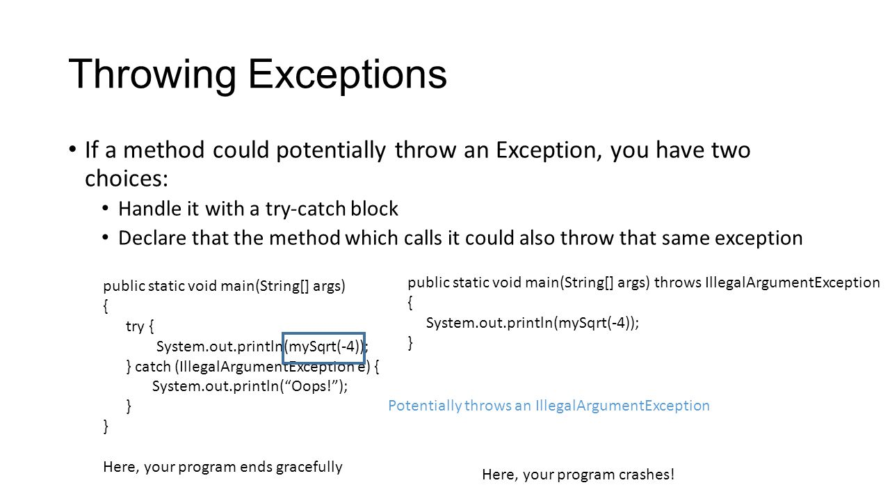 Throwing Exceptions If a method could potentially throw an Exception, you have two choices: Handle it with a try-catch block Declare that the method which calls it could also throw that same exception public static void main(String[] args) { try { System.out.println(mySqrt(-4)); } catch (IllegalArgumentException e) { System.out.println( Oops! ); } Potentially throws an IllegalArgumentException public static void main(String[] args) throws IllegalArgumentException { System.out.println(mySqrt(-4)); } Here, your program ends gracefully Here, your program crashes!