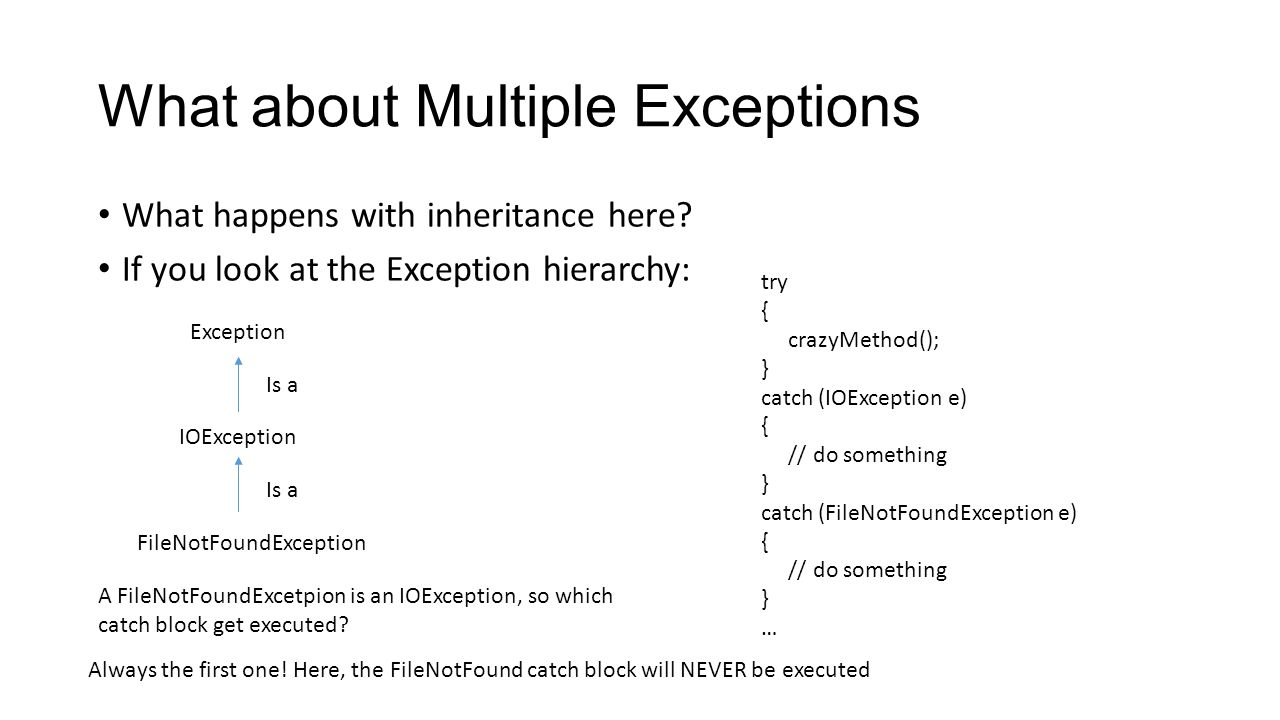What about Multiple Exceptions What happens with inheritance here? If you look at the Exception hierarchy: Exception IOException FileNotFoundException