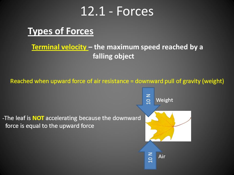 Forces Types of Forces Terminal velocity – the maximum speed reached by a falling object Reached when upward force of air resistance = downward pull of gravity (weight) 10 N Weight Air - The leaf is NOT accelerating because the downward force is equal to the upward force