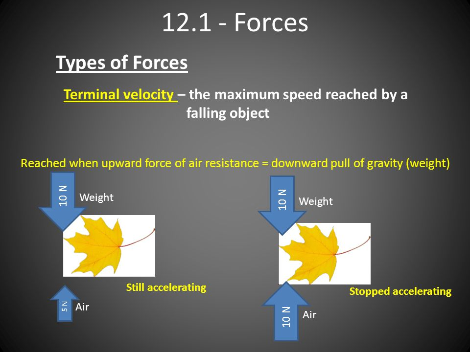 12.1 - Forces Types of Forces Terminal velocity – the maximum speed reached by a falling object Reached when upward force of air resistance = downward