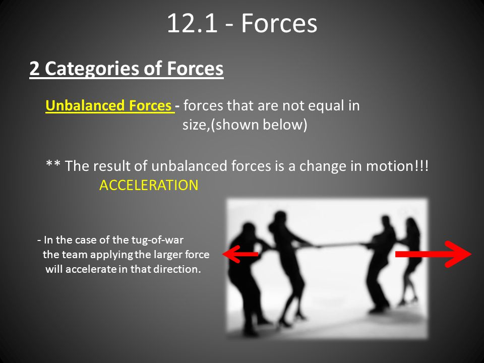 Forces 2 Categories of Forces Unbalanced Forces - forces that are not equal in size,(shown below) - In the case of the tug-of-war the team applying the larger force will accelerate in that direction.