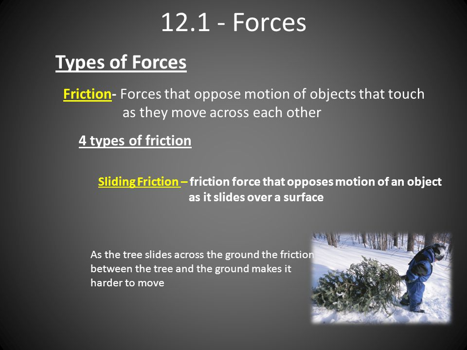 Forces Types of Forces Friction- Forces that oppose motion of objects that touch as they move across each other 4 types of friction Sliding Friction – friction force that opposes motion of an object as it slides over a surface As the tree slides across the ground the friction between the tree and the ground makes it harder to move