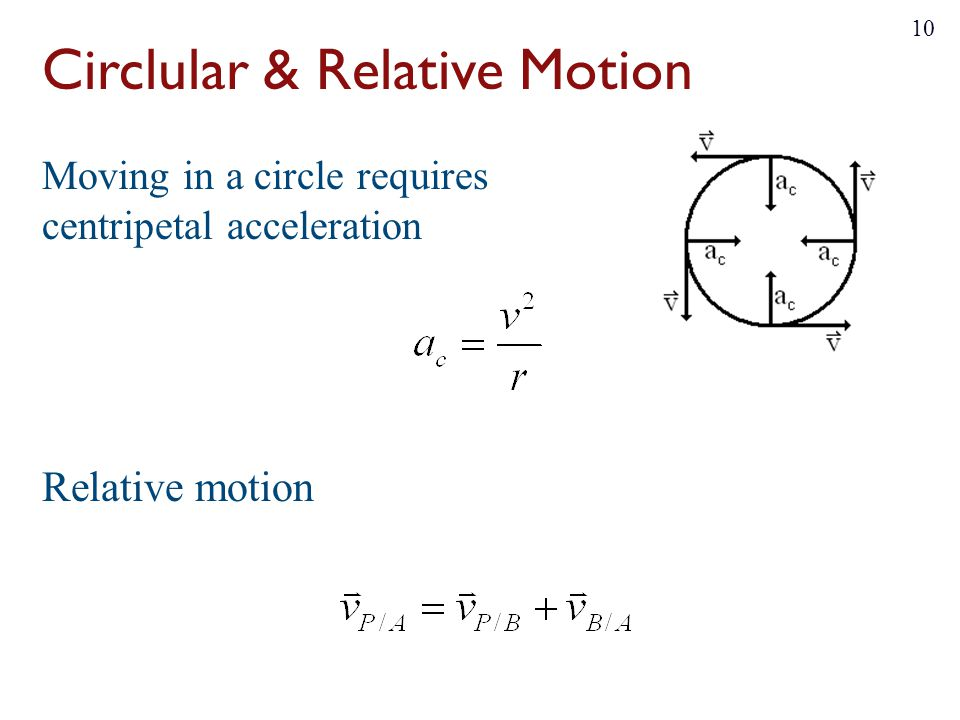 Circlular & Relative Motion Moving in a circle requires centripetal acceleration Relative motion 10