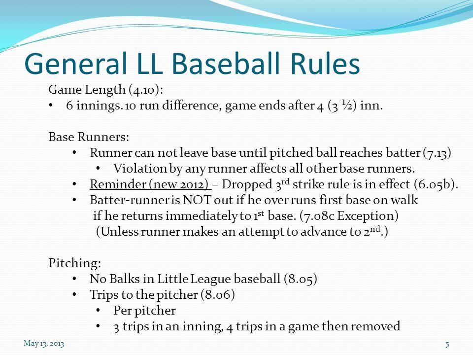 General LL Baseball Rules May 13, 20135 Game Length (4.10): 6 innings.
