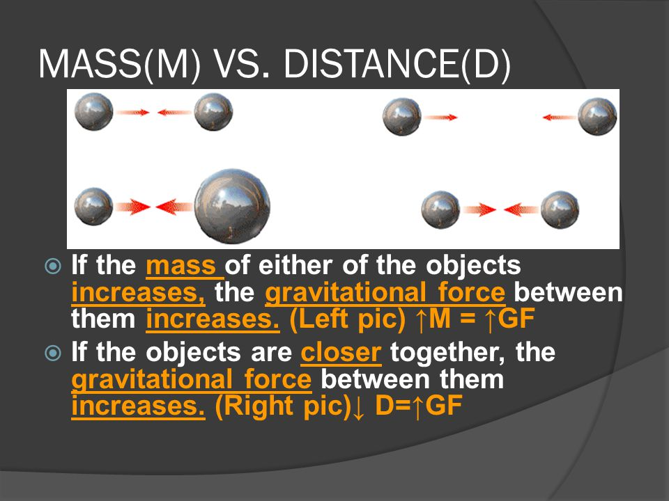 MASS(M) VS. DISTANCE(D)  If the mass of either of the objects increases, the gravitational force between them increases. (Left pic) ↑M = ↑GF  If the