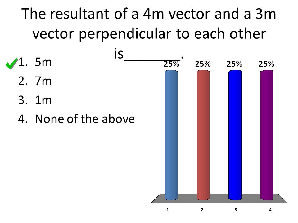 The resultant of a 4m vector and a 3m vector perpendicular to each other is_______.