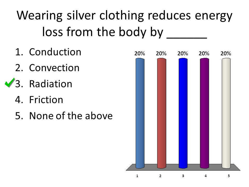 Wearing silver clothing reduces energy loss from the body by ______ 1.Conduction 2.Convection 3.Radiation 4.Friction 5.None of the above