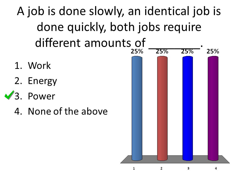 A job is done slowly, an identical job is done quickly, both jobs require different amounts of ________.
