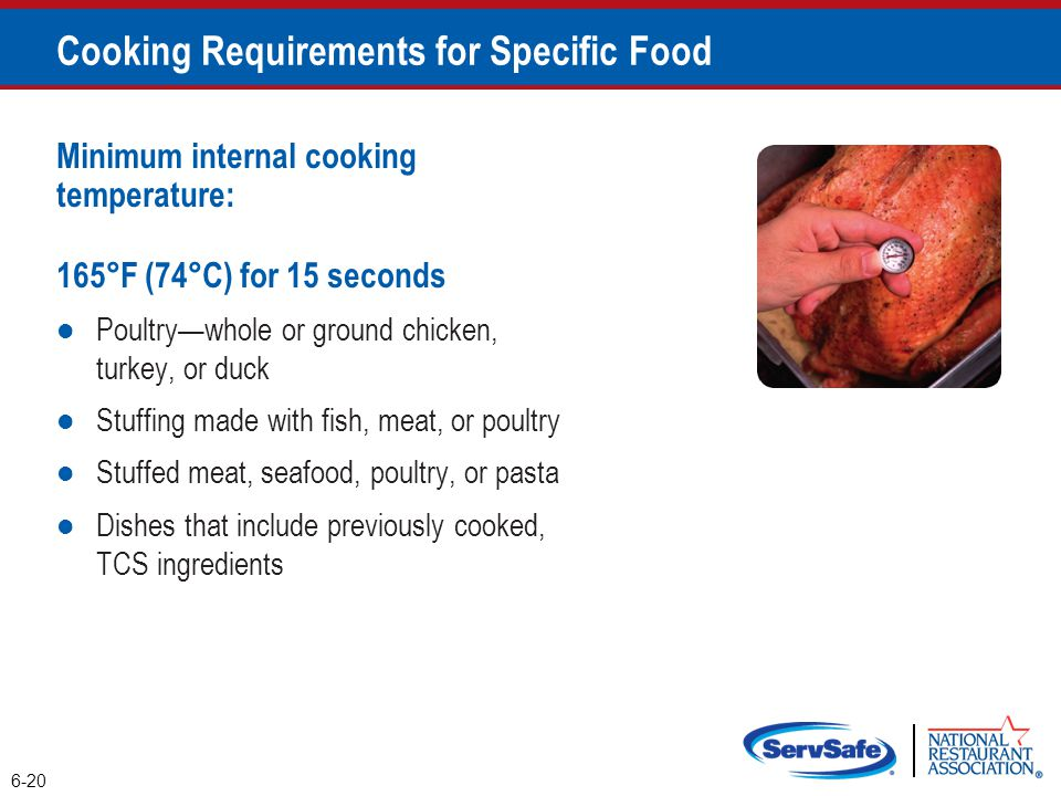 Minimum internal cooking temperature: 165°F (74°C) for 15 seconds Poultry—whole or ground chicken, turkey, or duck Stuffing made with fish, meat, or p