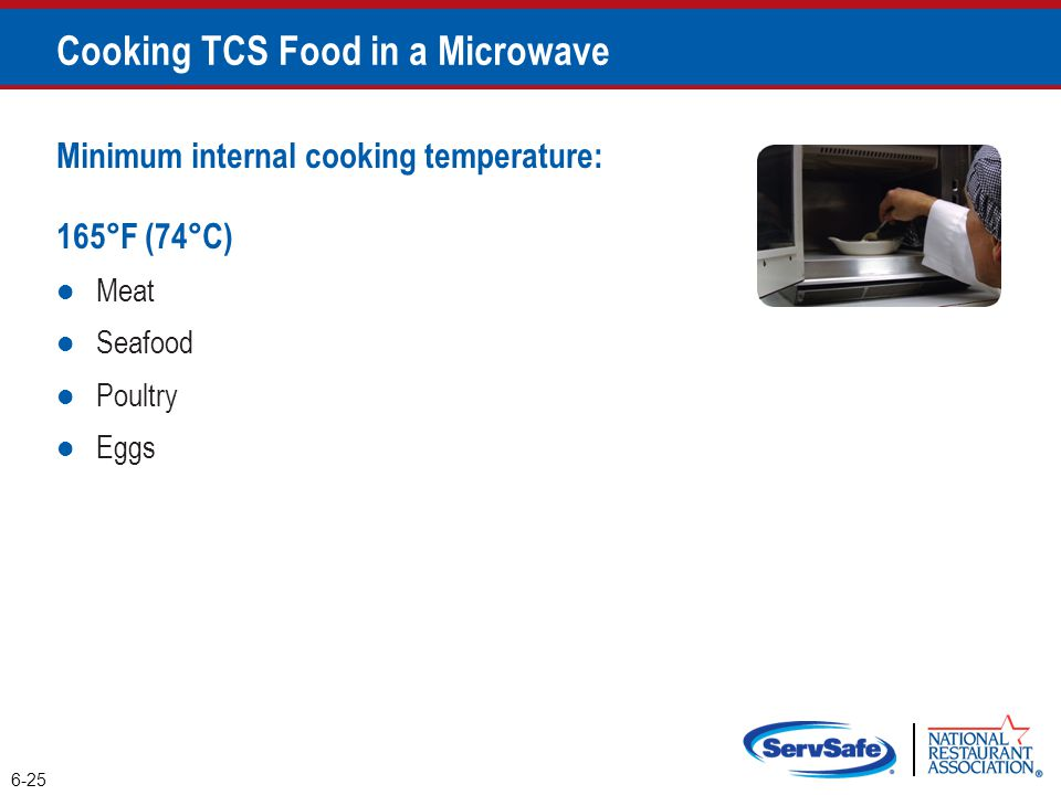 Minimum internal cooking temperature: 165°F (74°C) Meat Seafood Poultry Eggs Cooking TCS Food in a Microwave 6-25