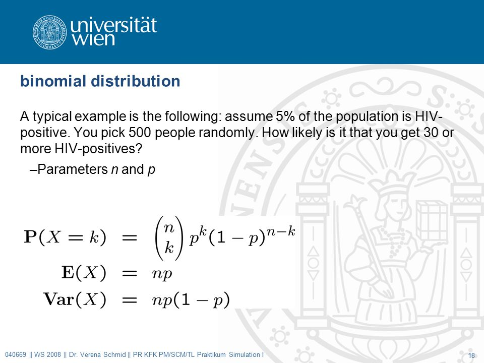 binomial distribution A typical example is the following: assume 5% of the population is HIV- positive.