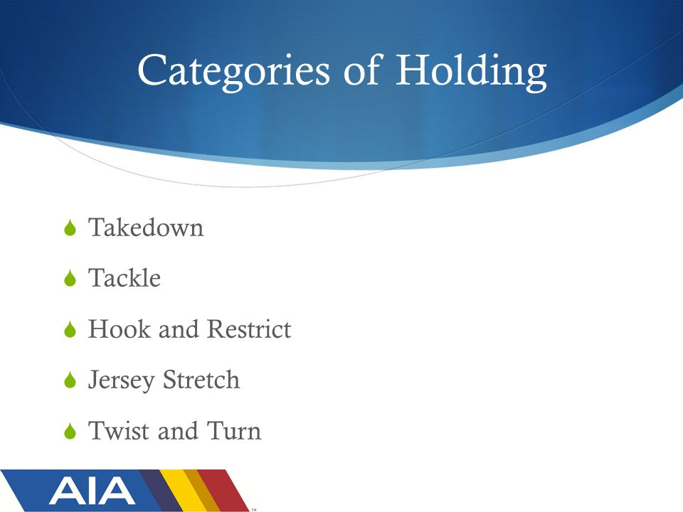 Categories of Holding  Takedown  Tackle  Hook and Restrict  Jersey Stretch  Twist and Turn