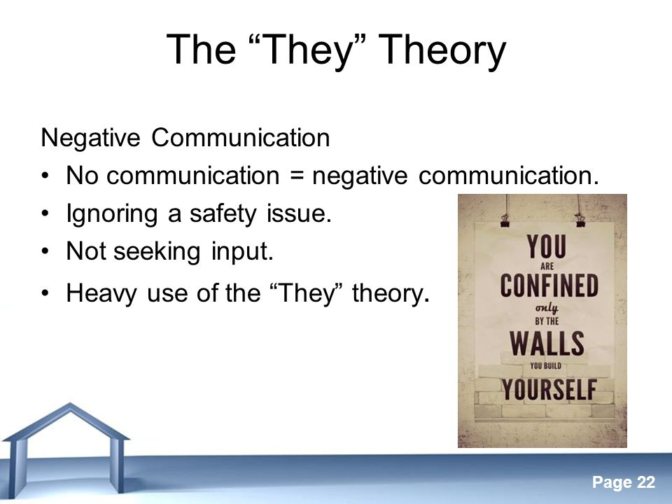 Free Powerpoint Templates Page 22 The They Theory Negative Communication No communication = negative communication.