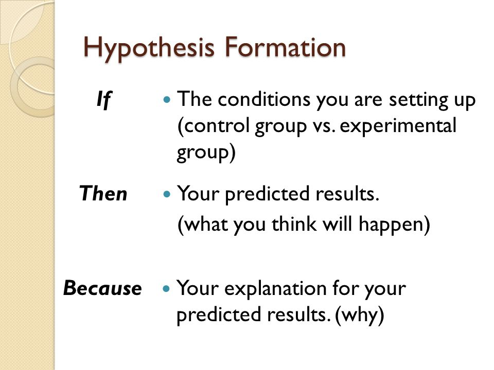 Hypothesis Formation If The conditions you are setting up (control group vs.
