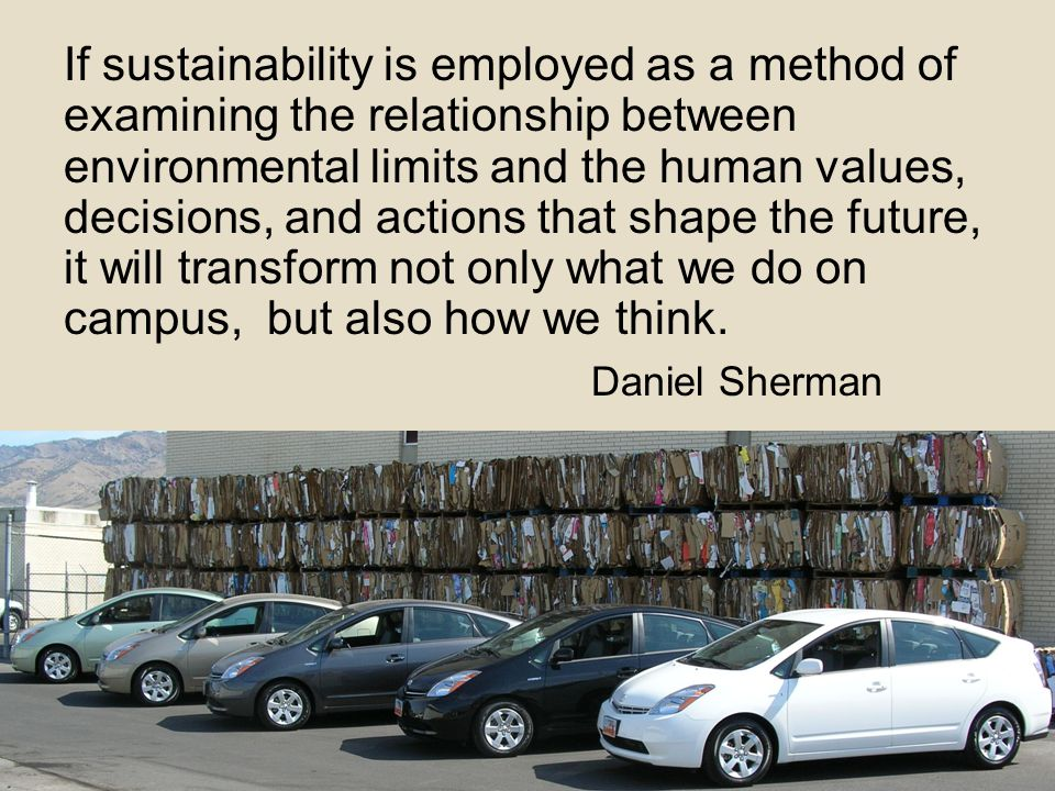 If sustainability is employed as a method of examining the relationship between environmental limits and the human values, decisions, and actions that shape the future, it will transform not only what we do on campus, but also how we think.