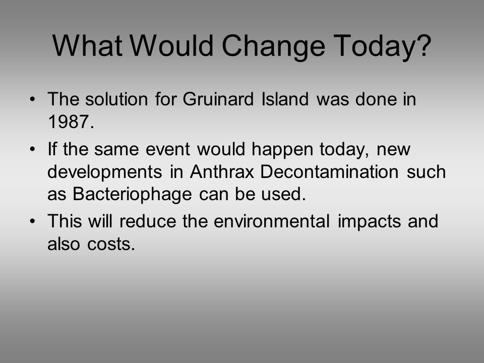 What Would Change Today. The solution for Gruinard Island was done in 1987.