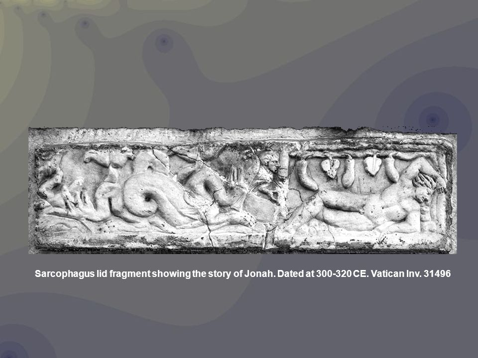 Sarcophagus lid fragment showing the story of Jonah. Dated at 300-320 CE. Vatican Inv. 31496