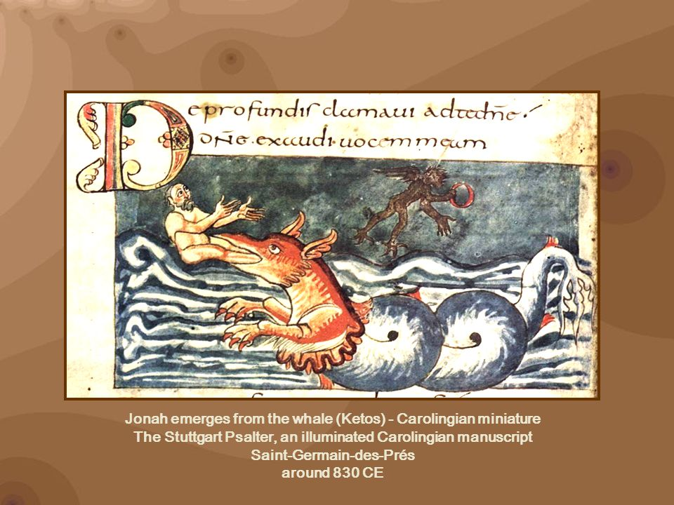 Jonah emerges from the whale (Ketos) - Carolingian miniature The Stuttgart Psalter, an illuminated Carolingian manuscript Saint-Germain-des-Prés around 830 CE