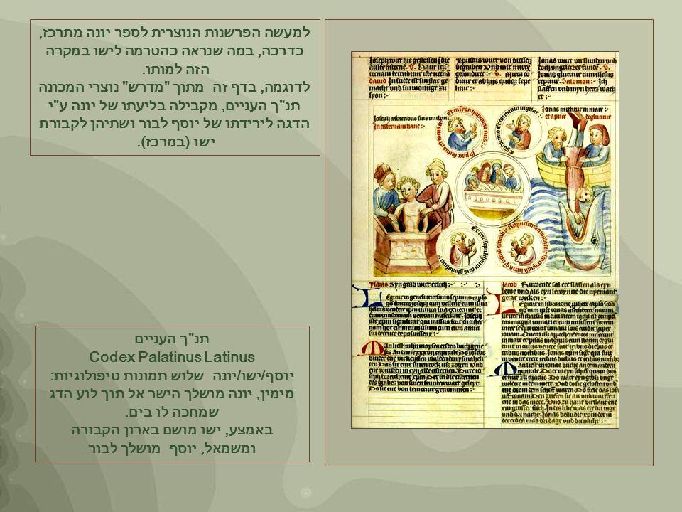 תנ ך העניים Codex Palatinus Latinus יוסף/ישו/יונה שלוש תמונות טיפולוגיות: מימין, יונה מושלך הישר אל תוך לוע הדג שמחכה לו בים.