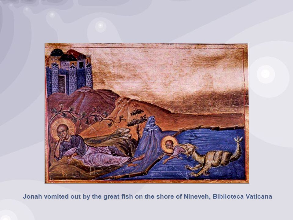 Jonah vomited out by the great fish on the shore of Nineveh, Jonah vomited out by the great fish on the shore of Nineveh, Biblioteca Vaticana