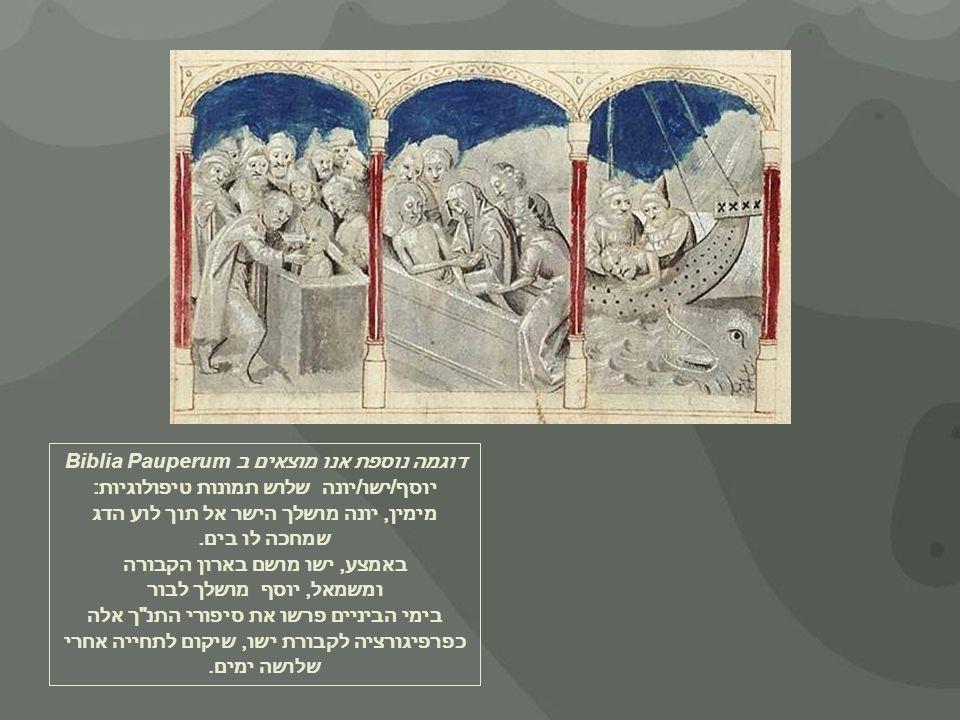 דוגמה נוספת אנו מוצאים ב Biblia Pauperum יוסף/ישו/יונה שלוש תמונות טיפולוגיות: מימין, יונה מושלך הישר אל תוך לוע הדג שמחכה לו בים.