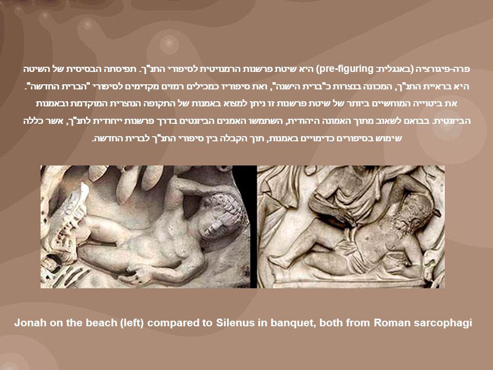 Jonah on the beach (left) compared to Silenus in banquet, both from Roman sarcophagi פרה - פיגורציה ( באנגלית : pre-figuring) היא שיטת פרשנות הרמנויטית לסיפורי התנ ך.
