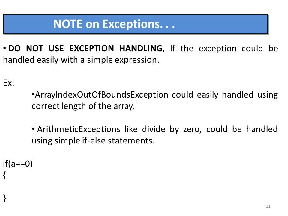 21 NOTE on Exceptions...