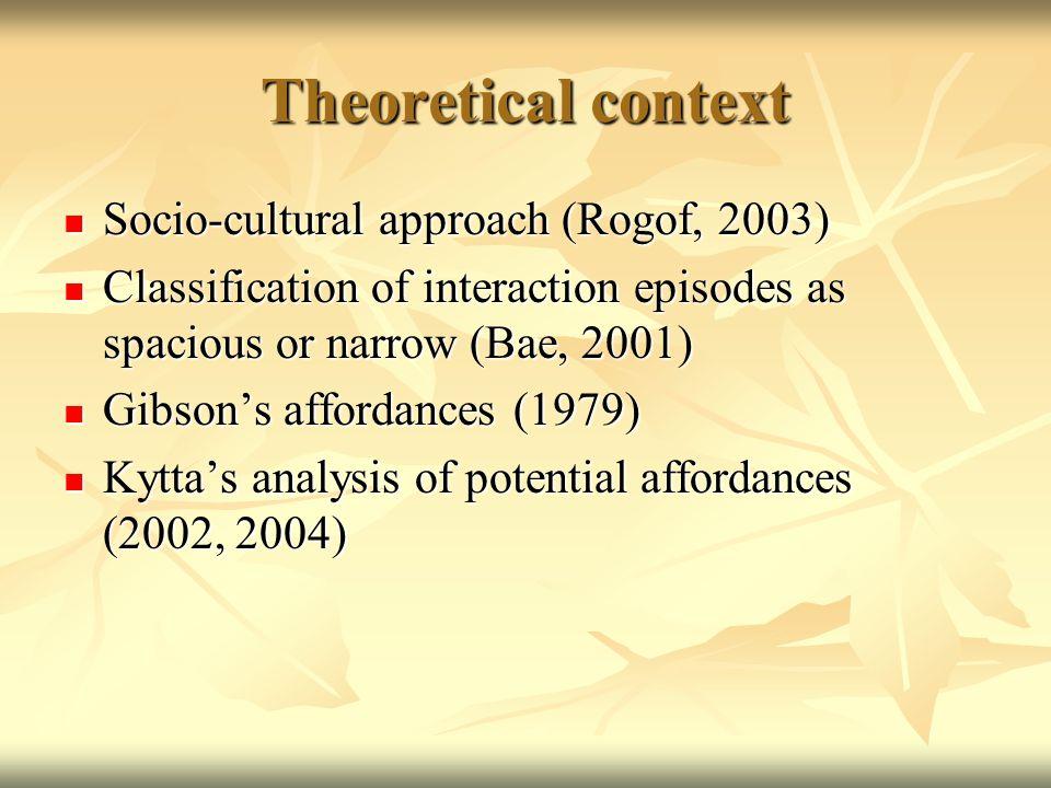 Theoretical context Socio-cultural approach (Rogof, 2003) Socio-cultural approach (Rogof, 2003) Classification of interaction episodes as spacious or