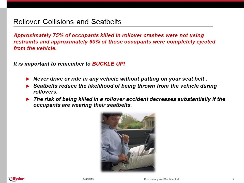 Rollover Collisions and Seatbelts Approximately 75% of occupants killed in rollover crashes were not using restraints and approximately 60% of those occupants were completely ejected from the vehicle.