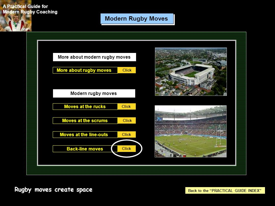 More about modern rugby moves More about rugby moves Click Moves at the line-outs Click Back-line moves Moves at the scrums Moves at the rucks Modern