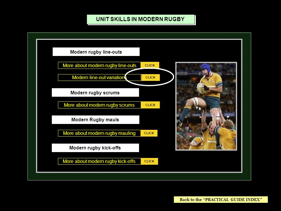 Modern line-out variations More about modern rugby line-outs CLICK UNIT SKILLS IN MODERN RUGBY CLICK More about modern rugby mauling More about modern