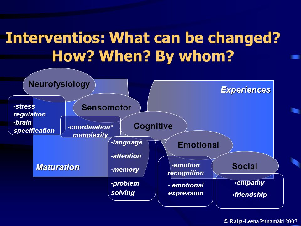 © Raija-Leena Punamäki 2007 Interventios: What can be changed? How? When? By whom? Experiences Maturation Neurofysiology Sensomotor Cognitive Emotiona