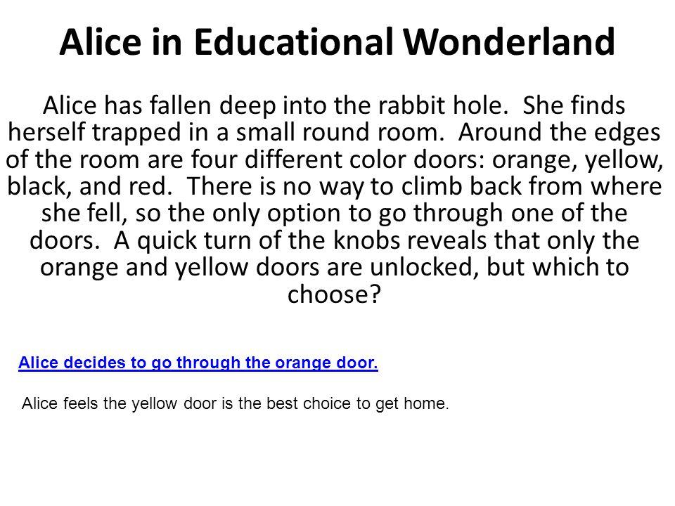 Orange Door Alice finds herself in the center of the garden path.