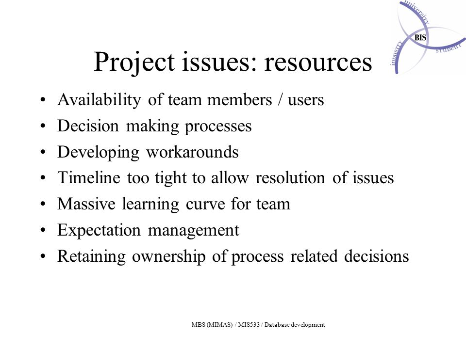 MBS (MIMAS) / MIS533 / Database development Project issues: resources Availability of team members / users Decision making processes Developing workarounds Timeline too tight to allow resolution of issues Massive learning curve for team Expectation management Retaining ownership of process related decisions