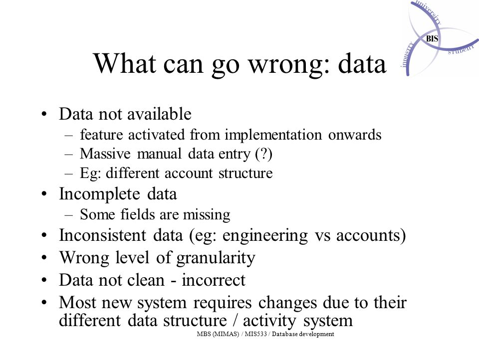 MBS (MIMAS) / MIS533 / Database development What can go wrong: data Data not available –feature activated from implementation onwards –Massive manual data entry (?) –Eg: different account structure Incomplete data –Some fields are missing Inconsistent data (eg: engineering vs accounts) Wrong level of granularity Data not clean - incorrect Most new system requires changes due to their different data structure / activity system