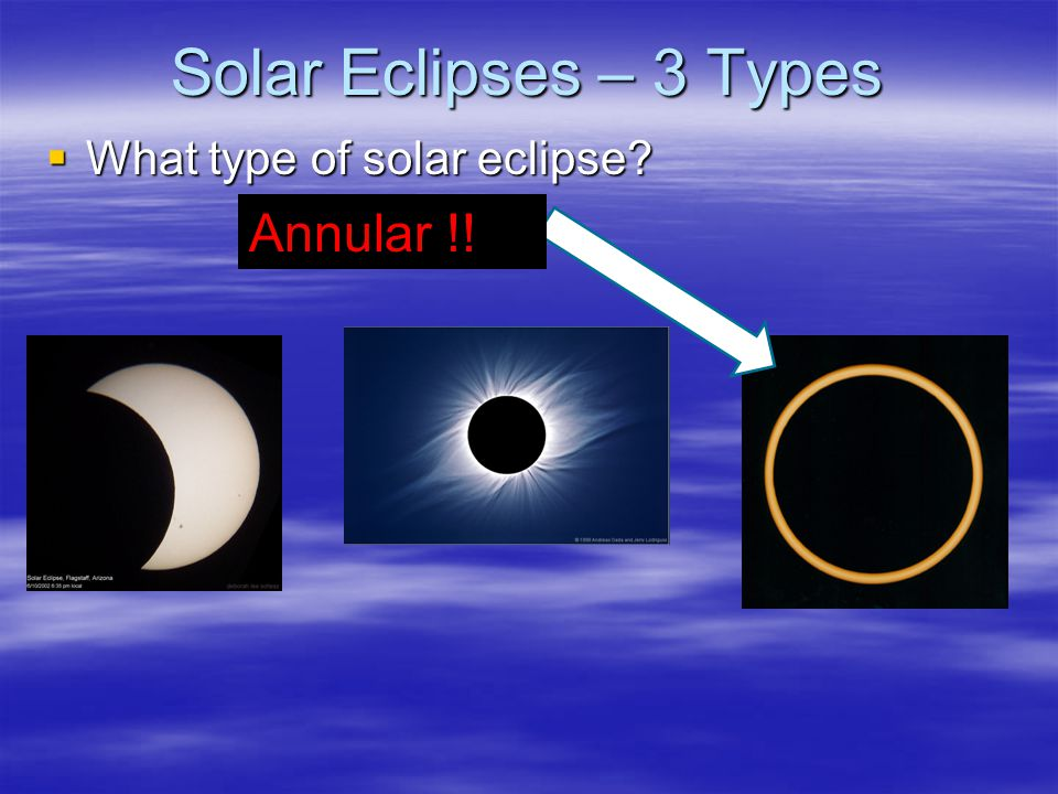 Solar Eclipses – 3 Types  What type of solar eclipse? Annular !!
