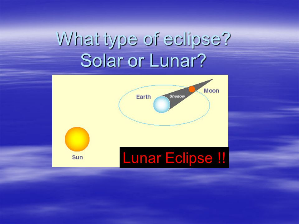 What type of eclipse? Solar or Lunar? Lunar Eclipse !!