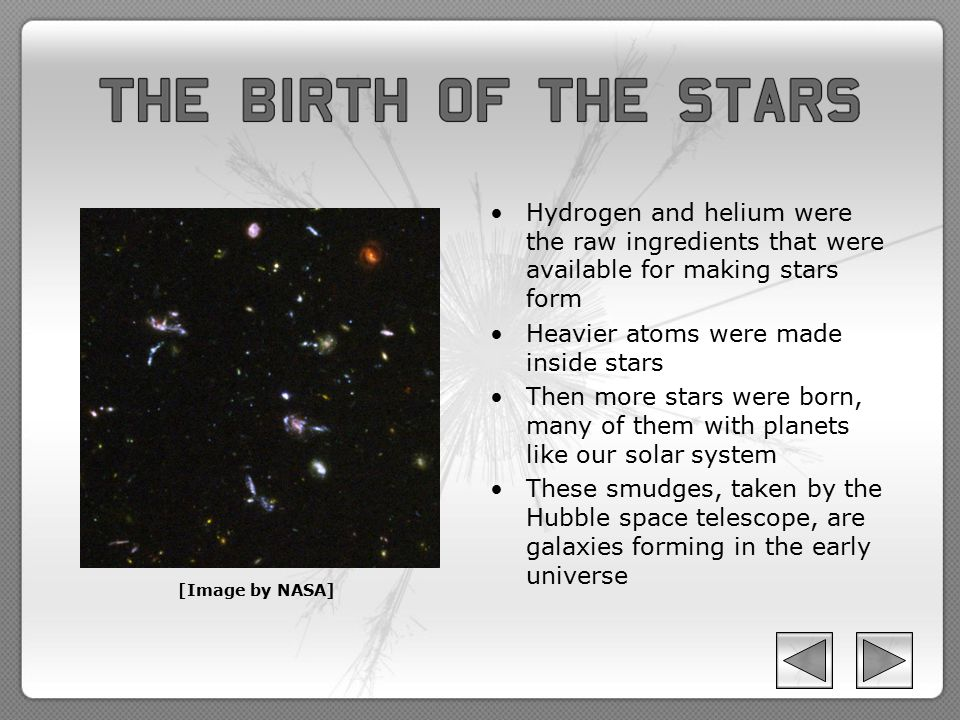 Hydrogen and helium were the raw ingredients that were available for making stars form Heavier atoms were made inside stars Then more stars were born,