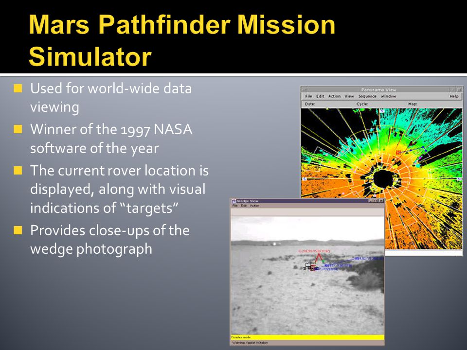 Used for world-wide data viewing Winner of the 1997 NASA software of the year The current rover location is displayed, along with visual indications o