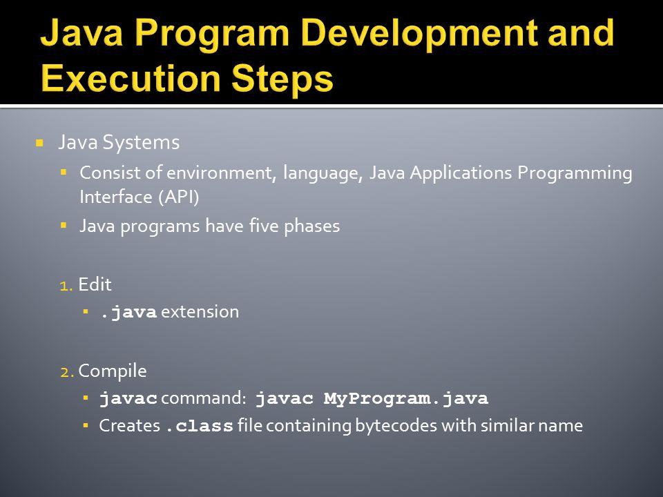  Java Systems  Consist of environment, language, Java Applications Programming Interface (API)  Java programs have five phases 1. Edit ▪.java exten