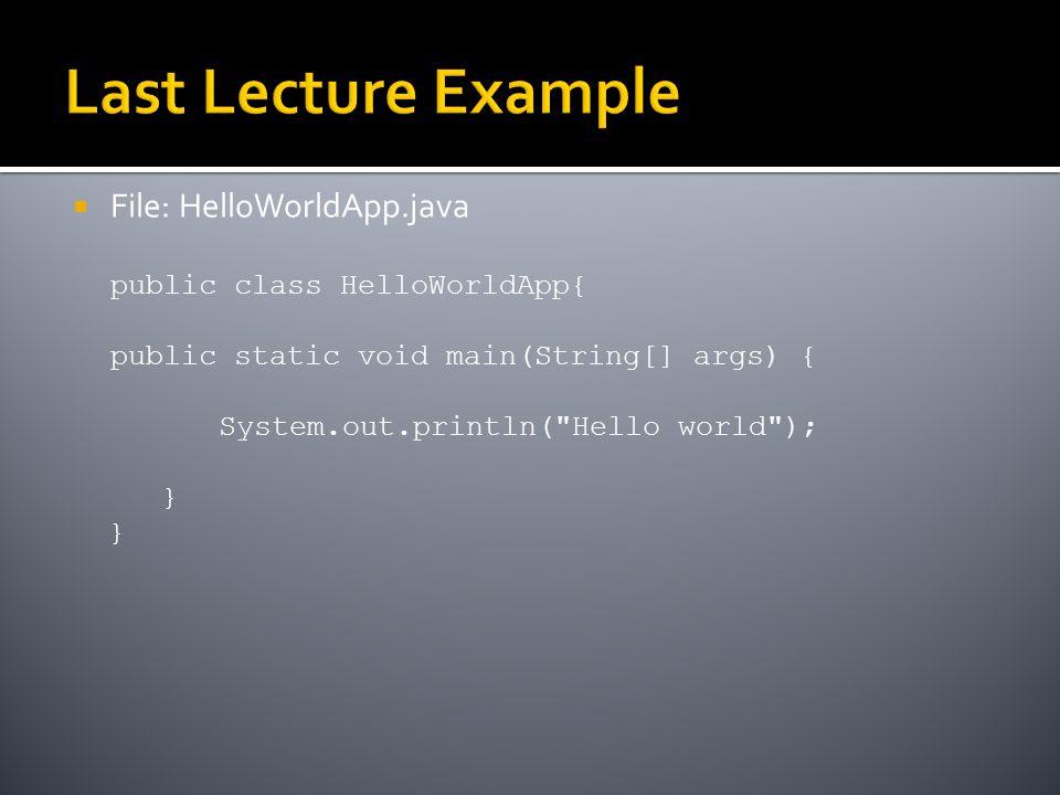  File: HelloWorldApp.java public class HelloWorldApp{ public static void main(String[] args) { System.out.println( Hello world ); }